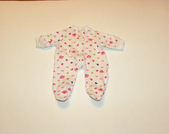 Heart Patterned White Patterned Footed Sleeper - 12 inch doll clothes