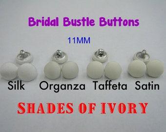 Light Ivory to Deep Ivory Bridal Bustle Buttons Silk Organza Taffeta Satin 11mm Fabric Covered Metal Back-Shank 18L Wedding Dress Closure