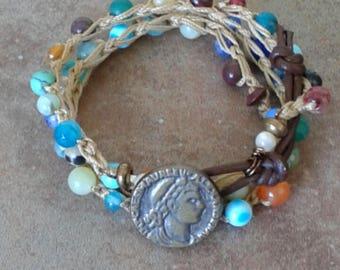 Gemstone 3x beachy wrap bracelet beaded wrap bracelet boho beach colorful Italian button