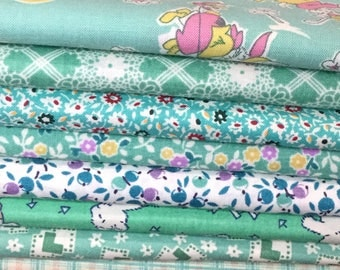Aunt Grace 1930's Reproduction mint green (G6) fat quarter bundle OOP HTF