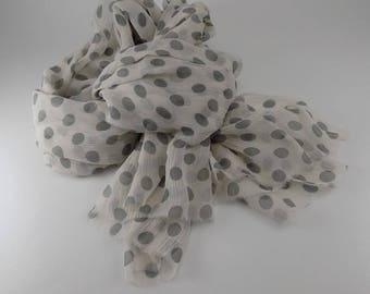 Handmade Silk Scarf --- Gray and White / Polka Dot