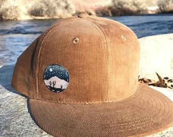 Hand painted desert landscape corduroy SnapBack hat