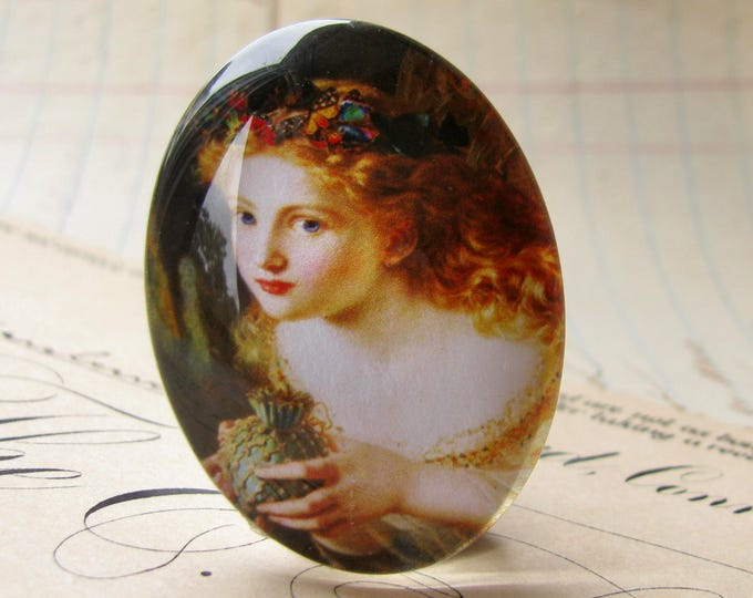 From our Magical Maidens collection - Butterflies in her hair, handmade glass oval cabochon, 40x30mm, artisan crafted in this shop