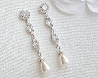 Bridal Earrings Long Pearl Drop Wedding Earrings Pearl Crystal Dangle Earrings Rose Gold Earrings Wedding Jewelry, Hayley