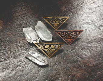Strike - Brass or Copper Sigil Pin - Handmade One of a Kind