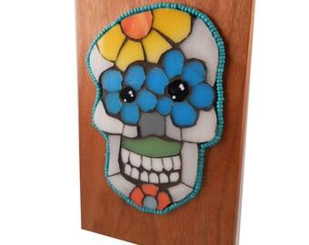 Day of the Dead Sugar Skull Stained Glass Sun catcher:Unique