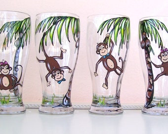Monkey Palm Tree Pilsner Beer Wine Glass Tropical Hand Painted Glass (Custom Order)