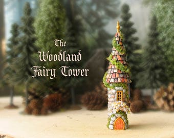 The Woodland Fairy Tower of The Bewildering Pine - Miniature Enchanted Stone Tower w/ Window Box, Mossy Tile Roof, Fairy Door and Finial