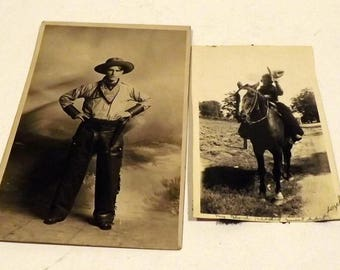 Cowboy sepia photographs postcard set of 2