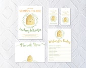 Printable Custom Bee Baby Shower Collection - Invitation, Wishes for Baby, Favor Tags, Thank You Note