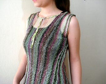 Meramaid Fishnet Top,  Rainbow Sheer Top Fringe tunic dress, See through beach cover up, Transparent fishnet blouse,