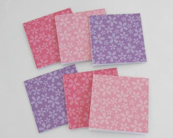 Mini Note Cards, 3x3 Cards, Set of 6 Small Note Cards, Thank you Cards, Lunchbox Note Cards, All Occasion Cards