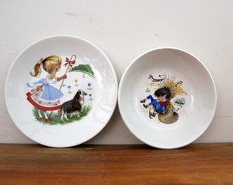Vintage Ridgway Childs China Plate and Bowl Set Little Bo Peep and Little Boy Blue Shaffordshire Made in England