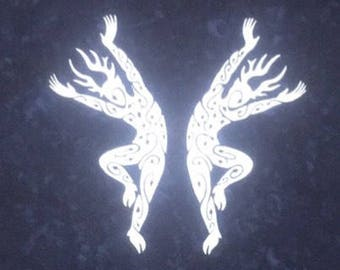 Dancing Forest Spirits Bandana In Silver On Indigo