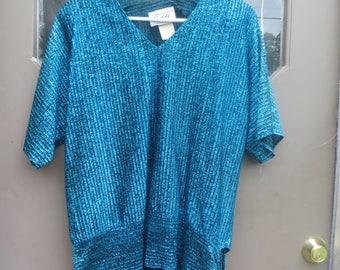 Vintage 70s   Teddi of California metallic sparkle  turquoise blue  tunic party disco blouse sz small