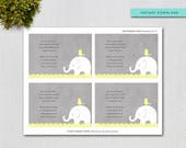 Bring a Book Invitation Insert, Grey and Yellow Elephant Printable Book Request Card,  Instant Download, Printable Digital File, 10553y