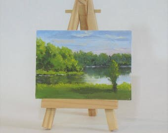 Aceo, Artist trading cards, landscape painting, sunrise at the lake