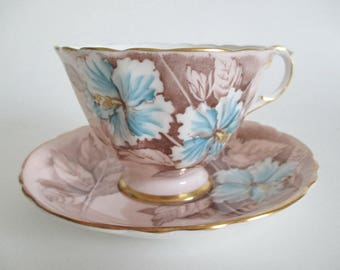 Paragon Footed Tea Cup & Saucer Blue Hibiscus on Buff Gold Gilt Porcelain Bone China