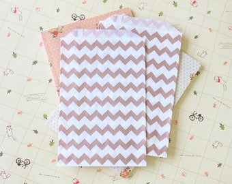 Chevron ROSE GOLD Middy Bitty Bags medium paper bags