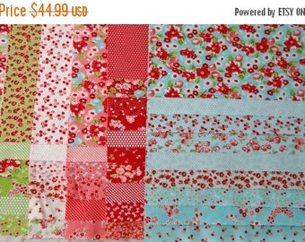 SALE 25 Off Fabric LITTLE RUBY 40 piece sample set Bonnie Camille Modern quilting sewing cotton maker Moda fabric Aqua red applique scrappy