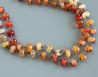 Carnelian Long Necklace, Carnelian Wire Wrapped Necklace, Autumn Necklace, Gemstone Long Necklace, Wire Wrapped Long Necklace