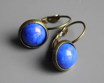 Howlite Dyed Lapis Earrings, Howlite Cabochon Earrings, Dangle Earrings, Gemstone Earrings, Euro Style Leverbacks, Blue Cabochon Earrings