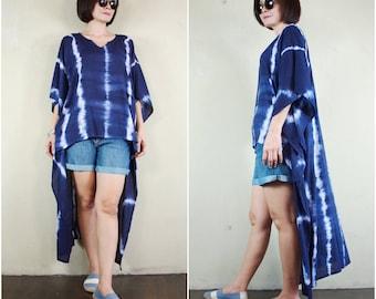 Sale - Boho Chic Resort Dark Navy Blue Tie Dyed Light Cotton Rayon Short Front Long Back High Low Hem Caftan Kaftan Women Top Blouse Tunic