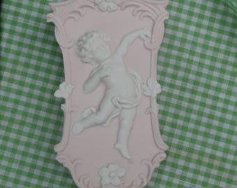 Pink Putti Wall Pocket, Jaspeware Style Porcelain, Angel Cherub Chubby Baby, Shabby Chic Vintage Japan Made Decor