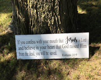 "Pallet Wood Sign,If you confess With Your Mouth That Jesus is Lord...Rustic Wood Sign,White Farmhouse Decor,Scripture Jesus Sign,36""x13"""