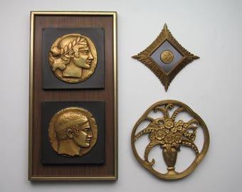 Hollywood Regency Decor- MCM Statement- Set of 3 Mixed Art Deco - Nice mid-century - Wall Hanging