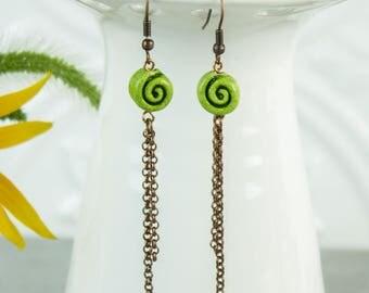 Spiral Dangle Earrings, Green Clay Bead copper chain tassel geometric birthday Gift for her modern Boho jewelry under 25