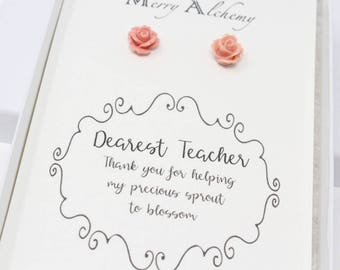 Teacher Gift, Teacher Earrings, Gifts under 10, Personalized Gift, Christmas Gift for Teacher, Teacher Appreciation, End of School Year Gift