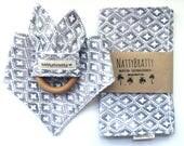 Grey Diamond Print - Baby Bib - Bibdana - Burp Cloth - Teething Ring - Gift Set - Individual Sale - Modern Winter Geometric - Gray