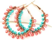 Beaded Hoop Earrings - Turquoise Bead Hoops - Beach Boho Jewelry - Tribal Ethnic Earrings - Inspired Bohemian - Colorful Hoops - Spring 2018