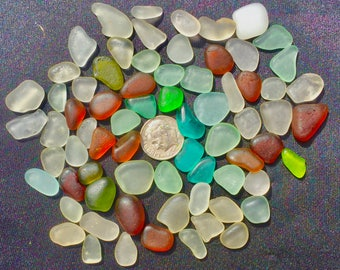 Beach Glass or Sea Glass of HAWAII! beach  AQUA! COLORFUL! 70 Jewelry quality  4 drilling!  Bulk Sea Glass! Mosaic Tiles! Seaglass