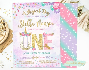 Unicorn 1st Birthday Invite, Unicorn First Birthday Invitation, Unicorn Party Invitation, Magical Invitation, Any Age, Printable Invite