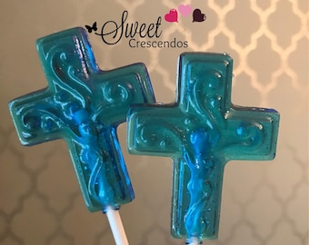 CROSS lollipop- Baptisms Lollipops, Christening Lollipops- Communion Lollipops- Hard Candy Lollipops- Religious