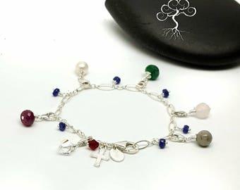 Sterling Silver Purity Charm Bracelet/ Genuine Gemstones/  Swarovski Crystals/ Sweet 16 Gift Idea/ Custom Made to Order/  Gift Idea for Girl