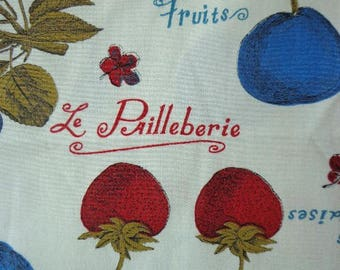 Fruit Themed Fabric, Words in French, Mid century Graphics, Manes Fabric Co. Inc, Remnant Piece