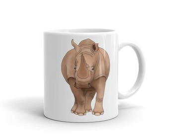 Rhino Kids Mug Wild Animal Lover Christmas Birthday Gift Rhino Artist Mug Milk Cup for Children Tea Coffee Lovers Safari Themed Gift