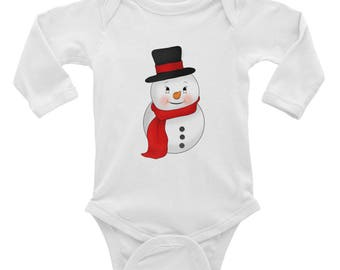 Baby Stocking Stuffer-  Snowman Baby Onesie, Infant Long Sleeve Bodysuit - Christmas Gift for Babies Expecting Parents Baby Shower Gift