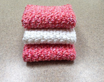 Handmade Cotton Wash Cloths / Dish Cloths in a Twist of Red. Pink and White - Set of 3