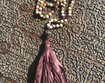 Expanded Love ~ Mala ~ Garnet ~ Agate ~ Fossil Jasper ~ Guru ~ Copper ~ Tassel: Silk Sari