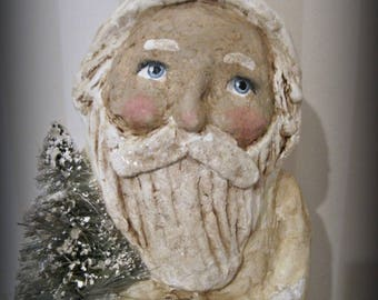 Folk art - White Santa Claus- Belsnickel- paper mache- handmade art doll- OOAK doll-papier mache