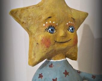 Little Star papier mache ooak folk art doll paper mache
