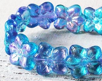 Czech Flower Beads - Czech Glass Flower Beads - Jewelry Making Supplies - 13x12mm  Blue Purple AB - Choose Amount