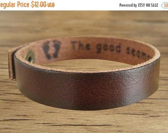 On Sale 20% off Custom Engraved Bracelet Leather in 12 Different Colors of Genuine Leather