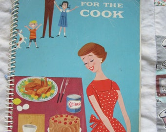 Vintage Cookbook Praise For The Cook 1959 Softcover Spiral Bound from Crisco Color Illustrations