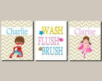 Superhero Bathroom Art, Brother Sister Bathroom Decor, Kids Bathroom Art, Wash Brush Flush, Girl Superhero, Canvas or Prints Set of 3