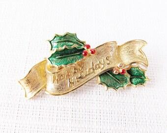 Vintage Gerry's Happy Holidays Brooch